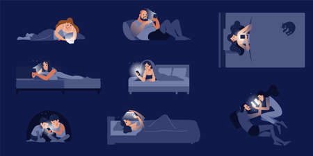 A collection of cute people lying on the bed talking on the phone. Lots of men and women chatting on social networks. Colorful flat cartoon style isolated vector illustration.