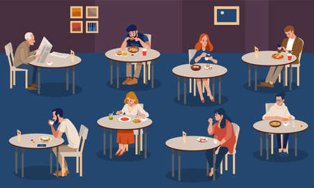 Creative human collection. Tiny people sitting at tables in large hall and eating. Colorful vector illustration in flat cartoon style.