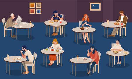 Kreative menschliche Sammlung. Winzige Leute sitzen an Tischen in einer großen Halle und essen. Bunte Vektorillustration im flachen Cartoon-Stil.