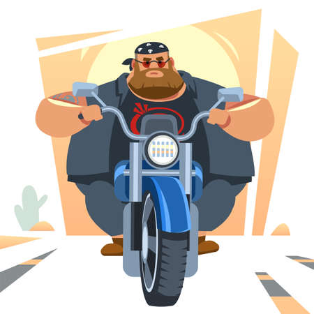 Big biker rides motorcycle, turns, bright colors motorcycle, sports fast motorcycle. Cartoon, flat vector illustration isolated in white background.