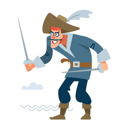 Pirate sailor with two swords attacks the victim. Vector illustration of flat cartoon on white background.