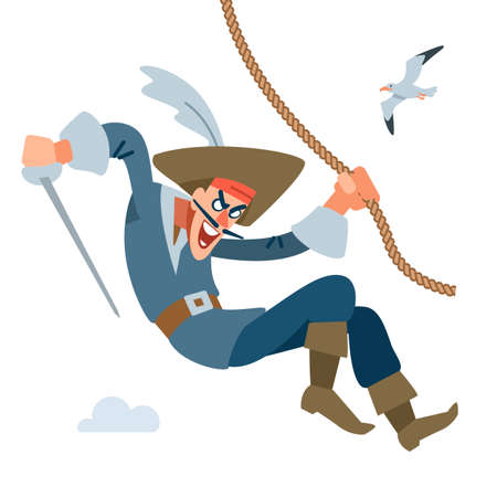 The character is a Pirate captain. Pirate attacks from above hanging on the rope. Vector cartoon illustration flat..