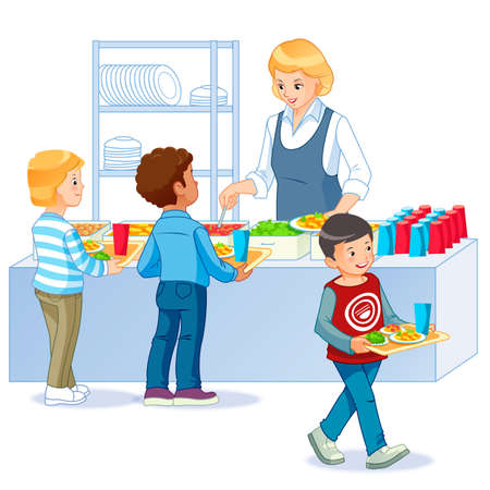 Kids in a Canteen Buying and Eating Lunch. Back to school. Cartoon vector isolated illustration.