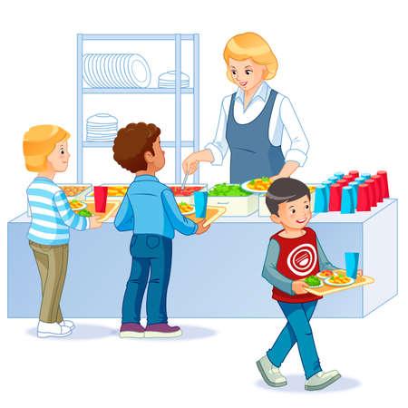 Kinder in einer Kantine kaufen und essen Mittagessen. Zurück zur Schule. Isolierte Illustration des Karikaturvektors. Vektorgrafik