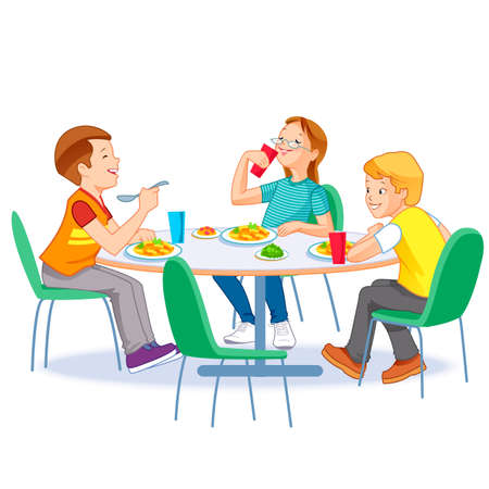 Happy kids having lunch by themselves. Two boys and girl eating lunch meals at table. Child nutrition concept.