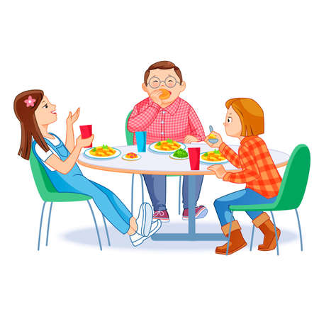 Happy kids having breakfast by themselves. Two girls and boy eating morning meals at table. Child nutrition concept. Vector illustration for banner, poster, website, flyer