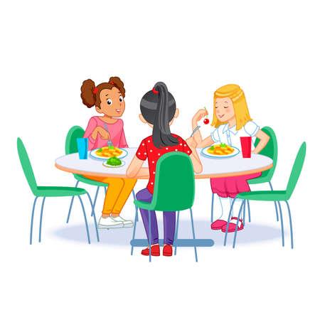 Die Kinder, die frühstücken. Glückliche Kinder, die alleine frühstücken. Vektorillustration für Banner, Poster, Website, Flyer fly Vektorgrafik