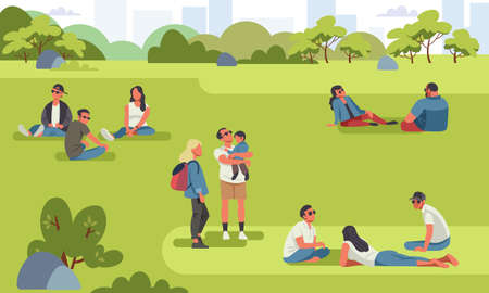 Various tiny people at park performing leisure outdoor activities. Cartoon colorful vector illustration. Banco de Imagens - 138442750