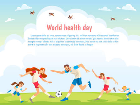 World Health Day. Family Sports. Illustrations of active parents playing sport games in urban park. Funny family couples in cartoon style. Family game sport together, play football