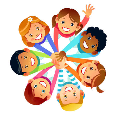 Kids friends from around the world around their hands. Multinational friendship of children of friends of the world. Cartoon Stock vector illustration isolated on white background.