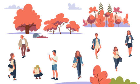 People are relaxing outdoors in the autumn-colored parks. Flat design style vector graphic illustration set isolated on white background