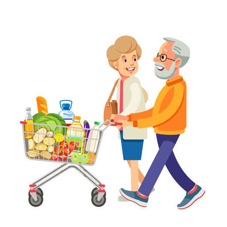 Happy old people shopping. Retired couple with shopping trolley with foods in the supermarket. Elderly man and woman at the grocery. Isolate on white background. Vector illustration in flat style  イラスト・ベクター素材