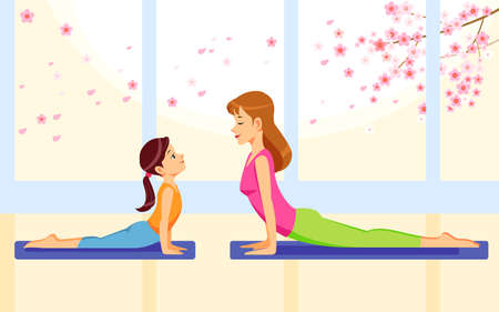 Happy Smiling Mother and Daughter Together Doing Yoga Exercises at home. Concept motherhood child-rearing. Family Fitness, Physical Activity, Healthy Lifestyle. Cartoon Flat Vector Illustration Ilustracja