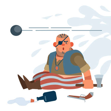The muscular Little pirate-robber is shell-shocked in battle by the roar of the Royal guard guns. Vector illustration of flat cartoon on white background