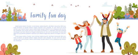 Family fun day. Creative poster or banner of family fun and entertainment, children s activities, healthy and safe environment for the family