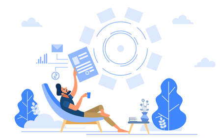 Downshifting escaping office people working with notebook sitting relaxed. Man working online a happy mood with a Cup of coffee. Vector flat illustration. Illustration