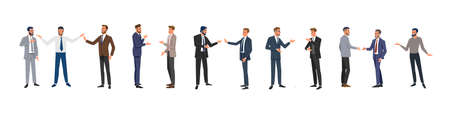 Businessmen isolated. Business people group different poses. Vector illustration. Illustration