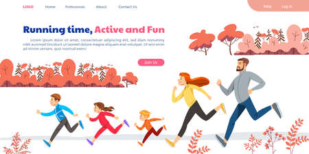 Web page with family running marathon or jogging. Active lifestyle, wholesome nutrition and sports. Creative landing page design template, web banner. Cartoon flat vector illustration.