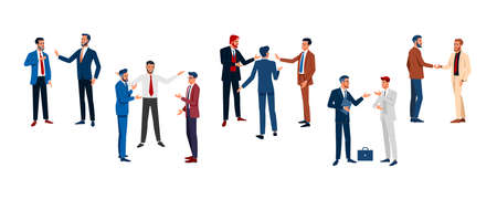 Business forum. Set businessmen different poses isolated flat vector illustration