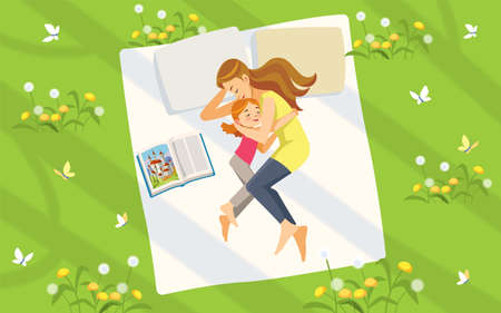 Mother and daughter in nature. Happy family spending time on the lawn reading books and relaxing. Concept motherhood child-rearing. Vector illustration. Sweet dreams. Cartoon vector illustration