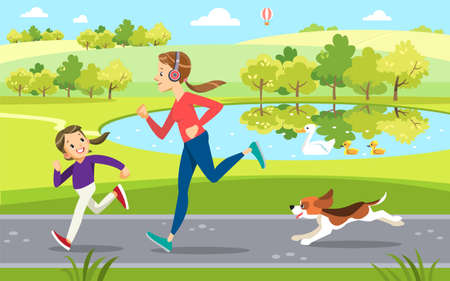 Mother and daughter Jogging with cute dog in the Park, along the lake. Concept motherhood child-rearing. Vector illustration.