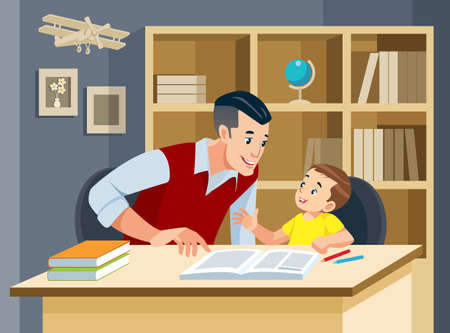Father helping son doing homework and smiling. Concept of friendly family. Vector illustration