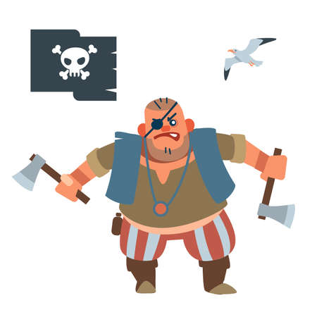 Pirate robber. Muscular pirate Shorty with two battle axes Vector illustration of flat cartoon on white background. Vecteurs