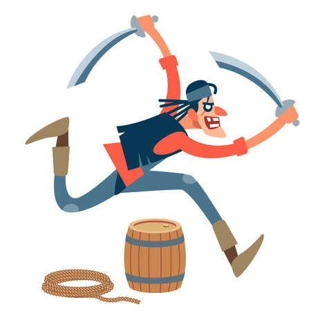 Pirate. Wiry, assertive pirate attacks the victim with two swords. Fearlessly runs forward. Vector illustration of flat cartoon on white background. Vectores