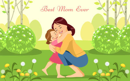 Mother s day holiday. Happy woman and child in the blooming spring garden. Concept motherhood child-rearing. Best mom ever. Vector illustration. Design for mobile app, kids print, greeting card.