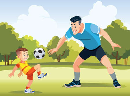 Young father with his little son playing football on football pitch at the day time. Concept of friendly family. Happy father s day. Vector illustration.