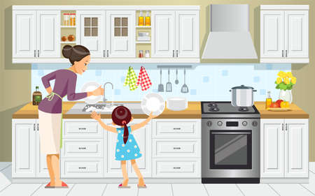 Mother and daughter washing the dishes. Girl Help Her Mum In Washing Dishes At Family Kitchen. Mothers day. Best mom. Concept motherhood child-rearing. Vector cartoon style illustration