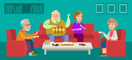 Seniors couple enjoying conversation with guests over cup of coffee at home. Happy grandparents day. Elder couples enjoying time together. Vector illustration in flat style