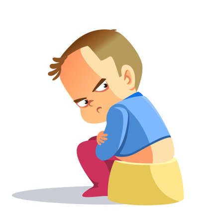 Sad boy, Depressed boy looking lonely. Illustration of a sad child, helpless, bullying. The little boy was offended, his arms crossed over his chest. Hurt a small child. Vector, cartoon illustration.