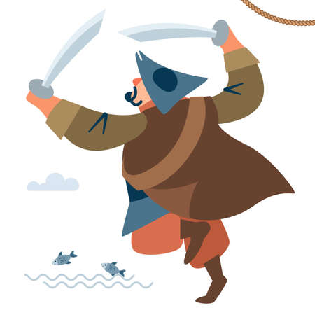 Medieval warrior. The big pirate attacks. Rear view. The character of the pirate. Vector illustration of flat cartoon on white background.