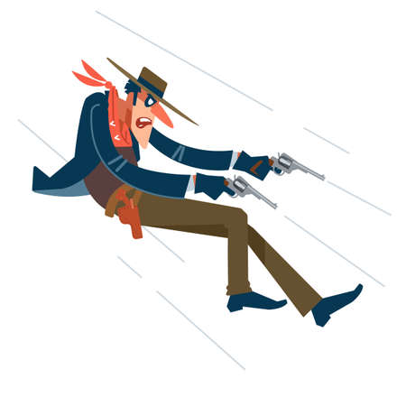 Wild West. Cowboy in a shootout. Vector flat, cartoon illustration.