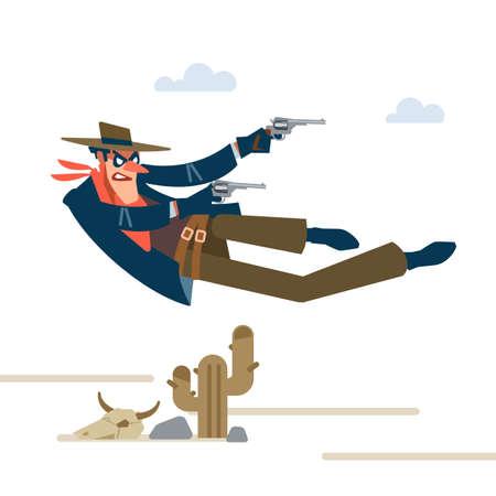 Cowboy. Gunfighter isolated on white background. Vector flat cartoon illustration  イラスト・ベクター素材