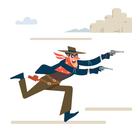 Wild west gunslinger. Cowboy robber runs attack and shouts. Gunfighter isolated on white background. Vector flat cartoon illustration.