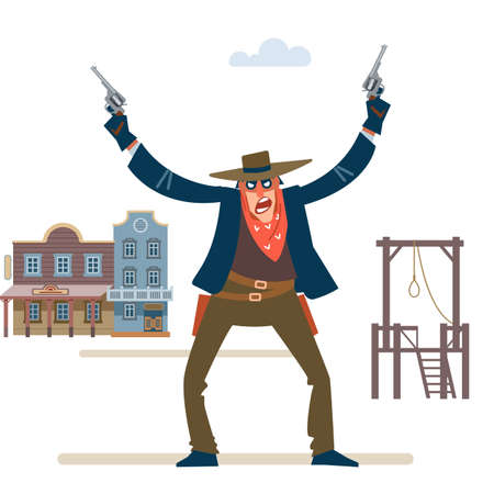 Cowboy western character wild west gunslinger holding two guns. Gunfighter isolated on white background. Vector flat cartoon style illustration  イラスト・ベクター素材