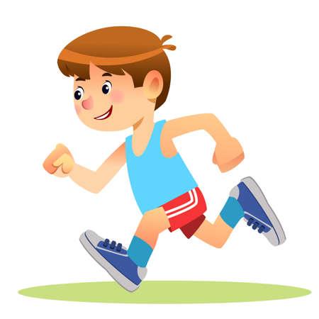 Boy running. Marathon runner or a boy running on school sport day. Cartoon Stock vector illustration isolated on white background Illustration