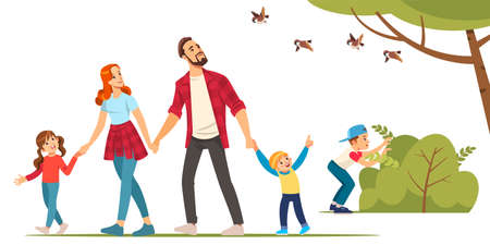 Happy family and hiking. Father, mother and children are traveling through in the forest. Trekking to nature. Vector illustration in cartoon style.