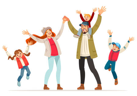 Happy family is jumping. Father mother daughter and sons holding hands together jumped. Vector illustration in cartoon style.