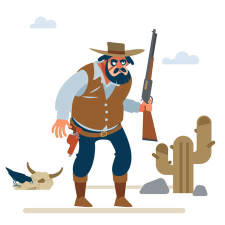 Big cowboy in the old wild west on white background. Vector flat cartoon illustration