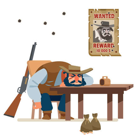 The wanted bandit defeated everyone and fell asleep drunk in a cowboy bar. Wild west. Cartoon vector illustration. Flat style. Isolated on white background.