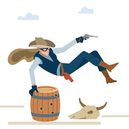Professional robber cowboy girl in a shootout jumps over the barrel. Wild west. Cartoon vector illustration. Flat style. Isolated on white background