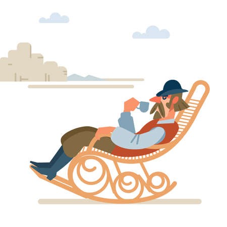 Old successful cowboy resting with a Cup of coffee in a rocking chair. wild West. Cartoon vector illustration. Flat style. Isolated on white background