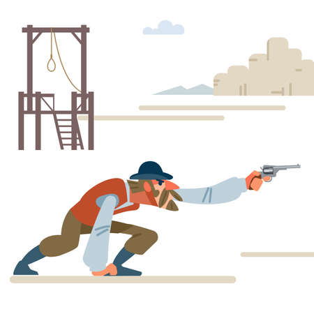 The leader of the group in the shootout saves the counterfeiters from the gallows. Cartoon vector illustration. Flat style. Isolated on white background