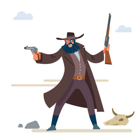 The character is a cruel bandit with a dark beard in a long raincoat, with a revolver and a rifle. Cartoon vector illustration. Flat style. Isolated on white background Vectores