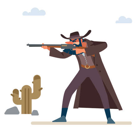 The gold hunter aims his rifle. Old wild west. Cartoon vector illustration. Flat style. Isolated on white background.
