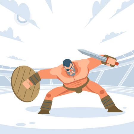 Ancient warrior or Gladiator in the posture before the attack on the arena. Vector isolated flat design style Illustration