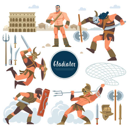The Gladiator. Set in ancient Rome illustration historic gladiator, warriors flat characters. Warriors, sword, armor shield, arena, Colosseum. Flat style.
